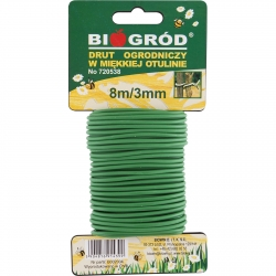Pehme-plastikkattega aiatraat - 3 mm x 8 m -
