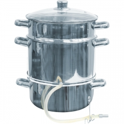 Stainless steel juice steamer - enables preparation of vegetable and fruit juices - for all cooker types including induction  - 8 litres