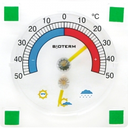 Self adhesive thermometer and hygrometer - 90 x 90 mm