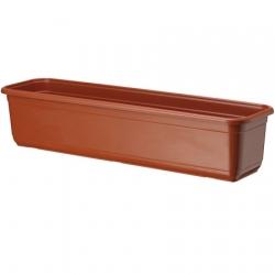 """Caja de balcón """"Venus"""" con platillo - 40 cm - color terracota -"""
