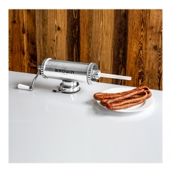 Embutidora horizontal de salchicha, cabanossi, salami - para 1,5 kg de carne, con pistón de silicona -