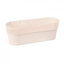 """Caja de balcón """"Rosa"""" con soporte - 50 cm - beige claro -"""