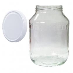 Glass twist-off jar, mason jar - fi 100 - 2.65 l + white lid