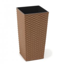 """Pot tanaman ramah lingkungan """"Finezja Eco"""" dengan campuran kayu - 19 cm - rotan - kayu alami -"""