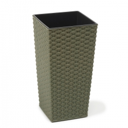 "Pot tanaman ramah lingkungan ""Finezja Eco"" dengan campuran kayu - 19 cm - rotan - hijau hutan -"