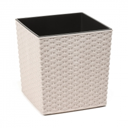 """Juka Eco"" eco-friendly plant pot with wood admixture - 25 cm - rattan - white"