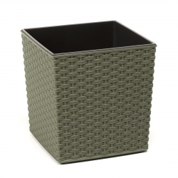 """Juka Eco"" eco-friendly plant pot with wood admixture - 25 cm - rattan - forest green"