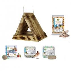 Madáretető készlet - háromszög alakú madáretető, madárasztal - elszenesedett fa + takarmány cicik és más madarak számára -