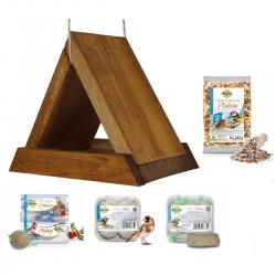 Madáretető készlet - háromszög alakú madáretető, madárasztal - barna + takarmány cicik és más madarak számára -