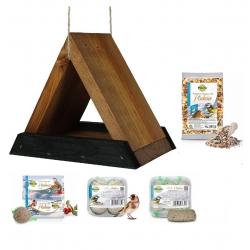 Madáretető készlet - háromszög alakú madáretető, madárasztal - fekete-barna + takarmány a ciciknek és más madaraknak -
