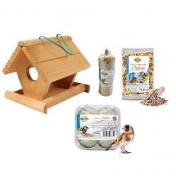 Bird feeding kit - Bird feeder, bird table - 21 x 18 x 17 + GRAIN SELECTION - 4 various types