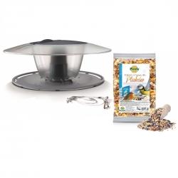 Bird feeding kit - a pole mounted bird feeder, bird table - Birdyfeed Round - stone grey + dry fodder - LARGE PACKAGE