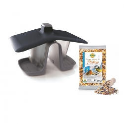 Bird feeding kit - A bird table for hanging on a line or branch - Birdyfeed Double - stone grey + dry fodder - LARGE PACKAGE