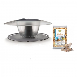 Bird feeding kit - a pole mounted bird feeder, bird table - Birdyfeed Round - anthracite grey + dry fodder - LARGE PACKAGE