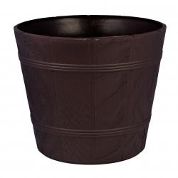 """Elba"" round wood grain pot casing with a saucer - 19 cm - brown"