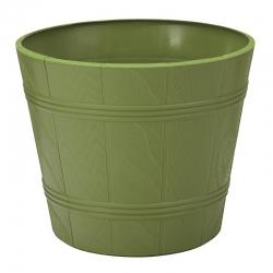 "Caja de maceta de grano redondo de madera ""Elba"" con platillo - 17 cm - verde oliva -"