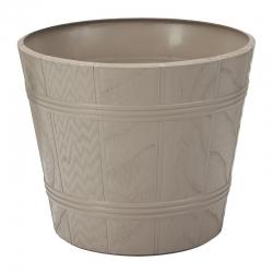 "Caja de maceta de grano redondo de madera ""Elba"" con platillo - 17 cm - gris-beige -"