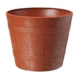 """Caja de maceta de grano redondo de madera """"Elba"""" con platillo - 17 cm - color terracota -"""