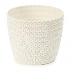 "Estuche redondo ""Jersey Magnolia"" - 14 cm - blanco crema -"