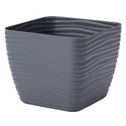 """Sahara petit"" square pot casing - 23 cm - anthracite-grey"