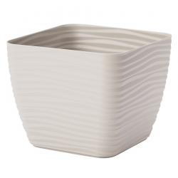 """Sahara petit"" square pot casing - 13 cm - light-grey"