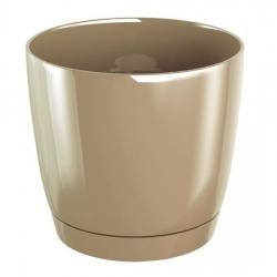 Round flower pot with saucer - Coubi - 10 cm - Milk Coffee