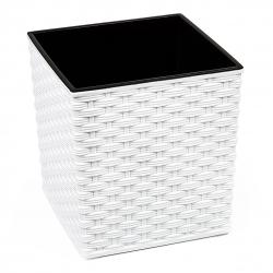"""""""Juka"""" négyzet alakú virágcserép - 19 cm - fehér rattan -"""
