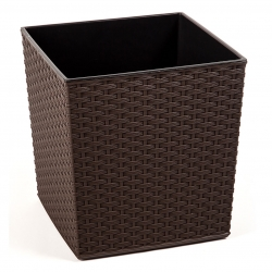 """Juka"" square flower pot - 30 cm - rattan mocha-brown"