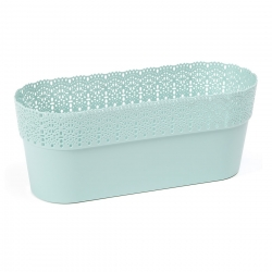 """Bella"" mesh pot casing with a lace-like finishing - 30 x 11.7 cm - mint-green"
