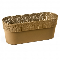 "Casing pot jala ""Bella"" dengan finishing seperti renda - 30 x 11,7 cm - emas -"