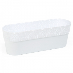 """Bella"" mesh pot casing with a lace-like finishing - 38 x 12.9 cm - white"