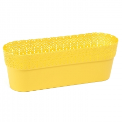 """Bella"" mesh pot casing with a lace-like finishing - 38 x 12.9 cm - yellow"