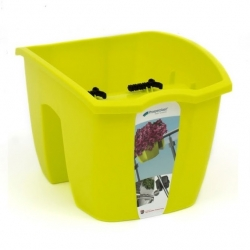 """Crown"" railing-mounted balcony box - lime green - 24 cm"
