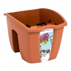 """Balkónový box """"Crown"""" na zábradlie - terakotový - 24 cm -"""