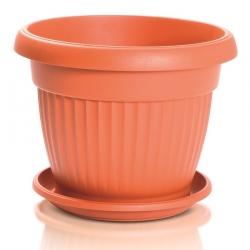 """Pot tanaman luaran """"Terra"""" dengan piring - 11 cm - berwarna terakota -"""
