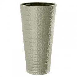 """Diament Slim"" tall round plant pot with an insert - 30 cm - light grey"