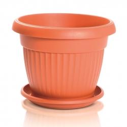 """Terra"" outdoor planter with a saucer - 17.5 cm - terracotta-coloured"