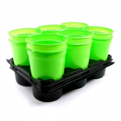 Green, round nursery pots with a tray - 12 pieces