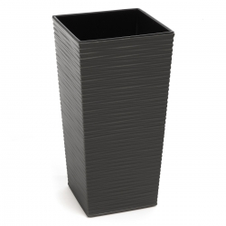 """Finezja"" square tall planter with an insert - 19 cm - chiselled, graphite-grey metallic"