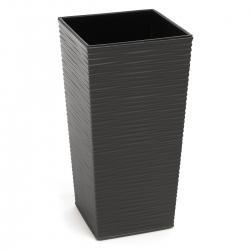 """Finezja"" square tall planter with an insert - 40 cm - chiselled, graphite-grey metallic"