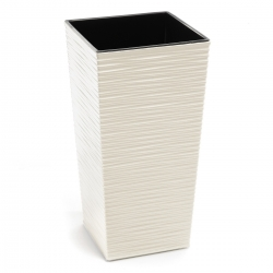 """Finezja"" square tall planter with an insert - 19 cm - chiselled, creamy-white"