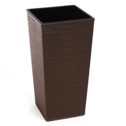 """Finezja"" square tall planter with an insert - 19 cm - chiselled, mocha-brown"