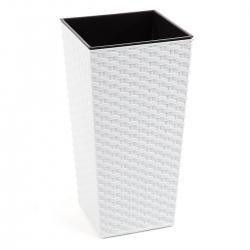 """Finezja"" square tall planter with an insert - 25 cm - white rattan"