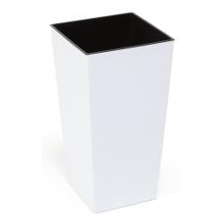 Maceta cuadrada con inserto - Finezja - 14 cm - Blanco -