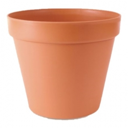 """Pot tanaman sederhana """"Glinka"""" dengan cawan - 11 cm - berwarna terakota -"""