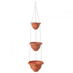 "Macetas colgantes de tres niveles ""Roma"" - 20 + 25 + 30 cm - color terracota -"