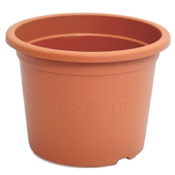 """Pot tanaman bulat """"Plastica"""" dengan piring - 9 cm - berwarna terakota -"""