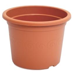 """Pot tanaman bulat """"Plastica"""" dengan piring - 11 cm - berwarna terakota -"""