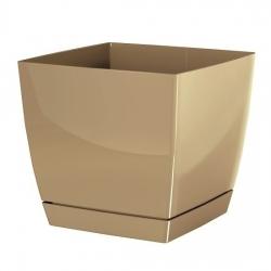 Kvadrātveida puķu pods ar apakštase - Coubi - 10 cm - Piena kafija -