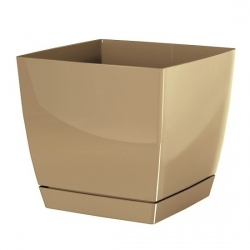 Square flower pot with saucer - Coubi - 21 cm - Milk Coffee